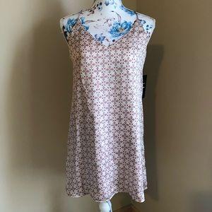 Lulu's pink &white geometric spaghetti strap dress